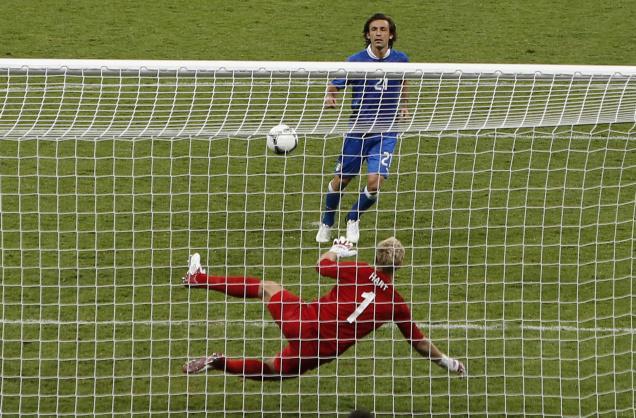 Andrea Pirlo penalty against Joe Hart England Italy Euro 2012 Semi Final