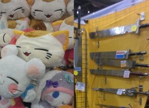 Japanese plush toys, katanas, samurai swords